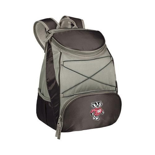 Picnic Time PTX Cooler Backpack Wisconsin Badgers Print Black/Grey (One Size)