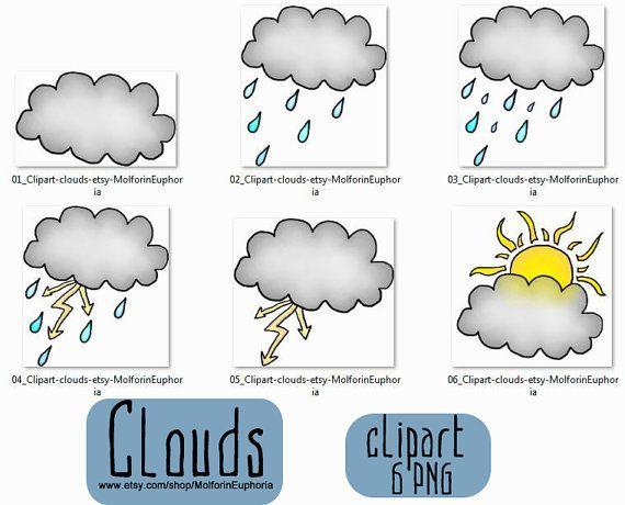 Clouds clipart, weather clip art, rain illustration, rain collage sheet, thunderstorm clipart, autumn weather clipart, hand drawn