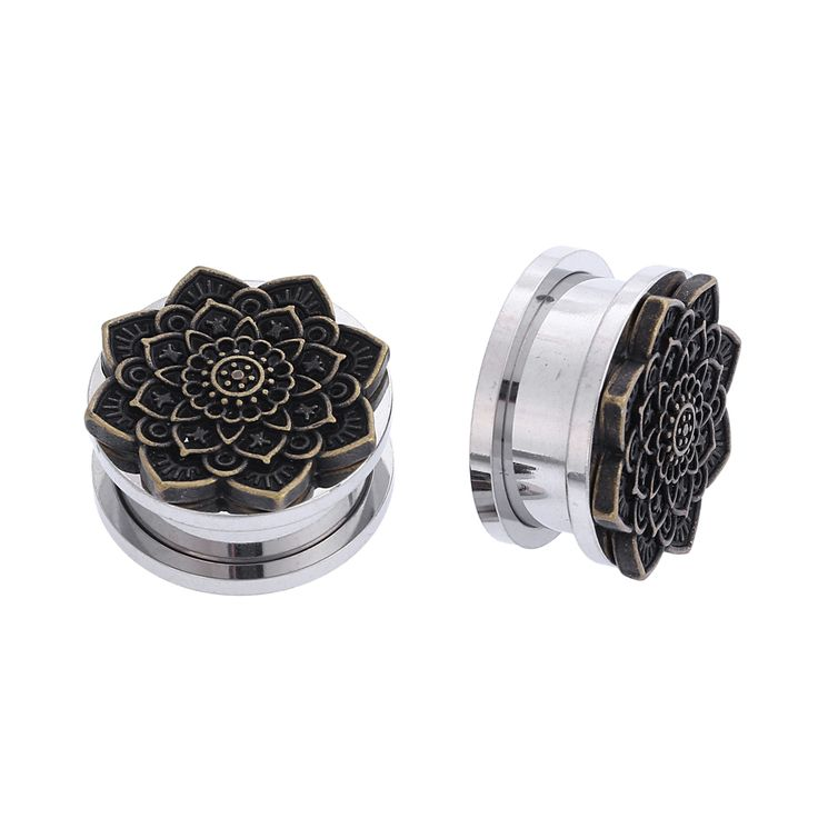 2PCS Steel Vintage Bronze Flower Ear Gauges Plugs Tunnels Screw Fit Expansion Ear Stretched Piercing Fesh Tunnels Body Jewelry