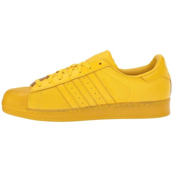 adidas Originals Superstar AdiColor (Yellow/Yellow/Yellow) Athletic... ($90) ❤ liked on Polyvore featuring shoes, adidas originals shoes and adidas originals