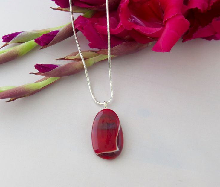 Deep Red & White Fused Glass Pendant by TheGlassNeedleco on Etsy