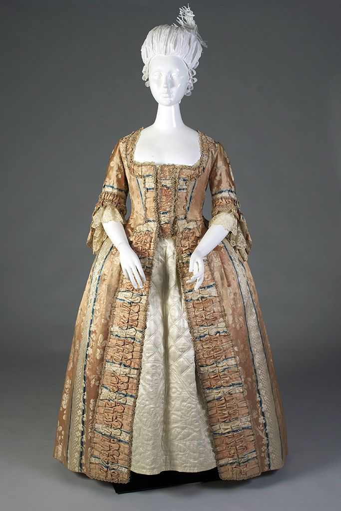 Robe à la française of ombré striped silk lampas, German, ca. 1750s, KSUM Kent State University Museum.