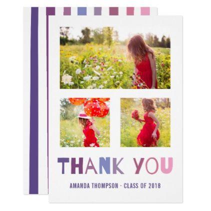 Ultra Violet palette Graduation photo thank you Card - thank you gifts ideas diy thankyou
