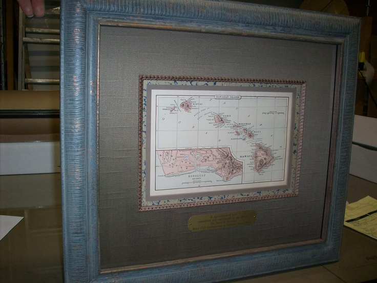 Framed antique map of Hawaiian Islands with plaque. Fabric mat, decorative fillet and marble corkboard paper.