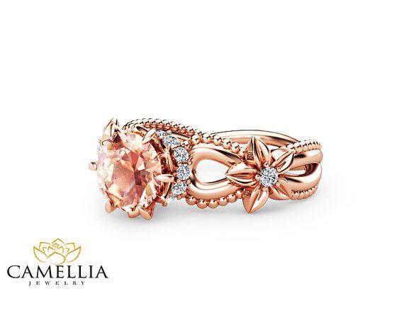 Morganite rosa pesca anello di fidanzamento a mano 14k oro