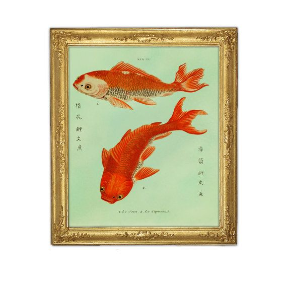 Two Goldfish Koi Print - Fish Art - Feng Shui Art - Marriage Love Prosperity Symbol - Digital Print - Giclee Art - Wall Hanging - Home Deco