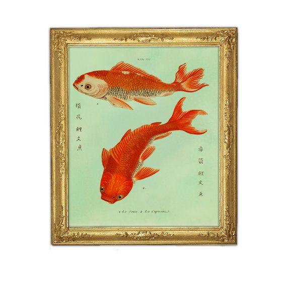 two goldfish koi print fish art feng shui art marriage love prosperity symbol digital. Black Bedroom Furniture Sets. Home Design Ideas