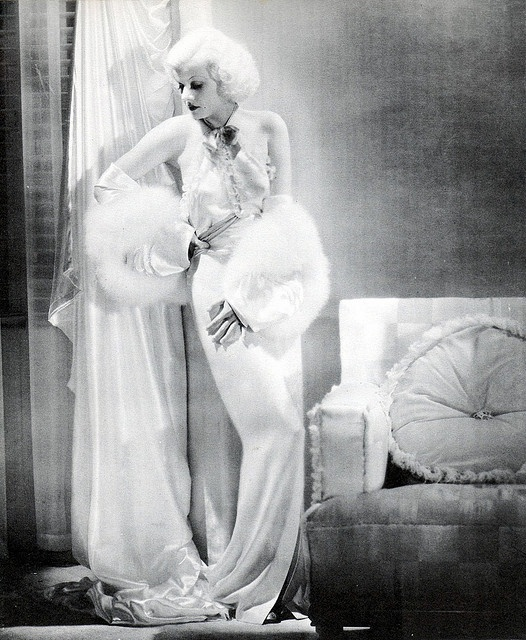 """Jean Harlow all platinum and shiny , costume by Adrian, """"Dinner at Eight"""", 1933"""