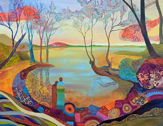 Original Large Canvas Print On The Lake Pop Surreal Colorist Zen Lake Landscape Modern Art Nouveau Love Sc Large Canvas Prints Canvas Prints Colorist Art
