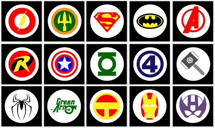Super Hero Wall Posters - she's got a printable pdf link on this page! so much easier than trying to freehand them! :)