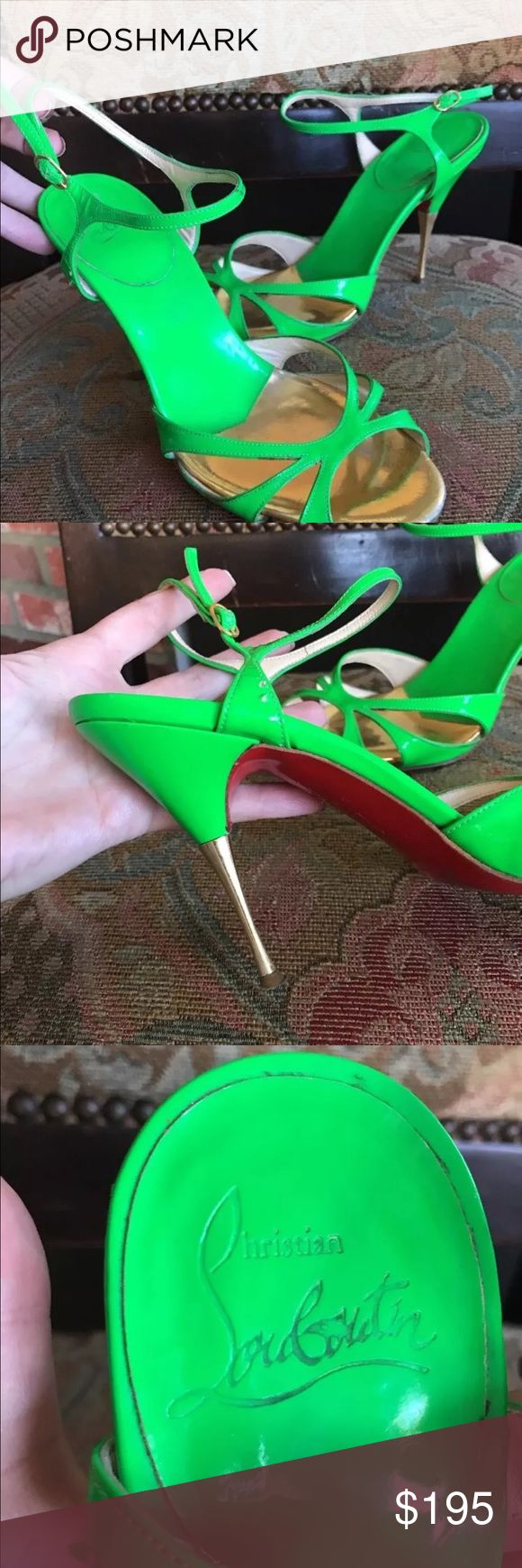 Christian louboutin green sandals Christian Louboutin women shoes size 37 in preowned condition Christian Louboutin Shoes Heels