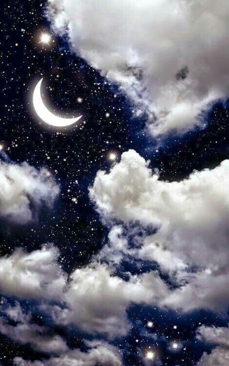 Crescent moon stars and beautiful clouds