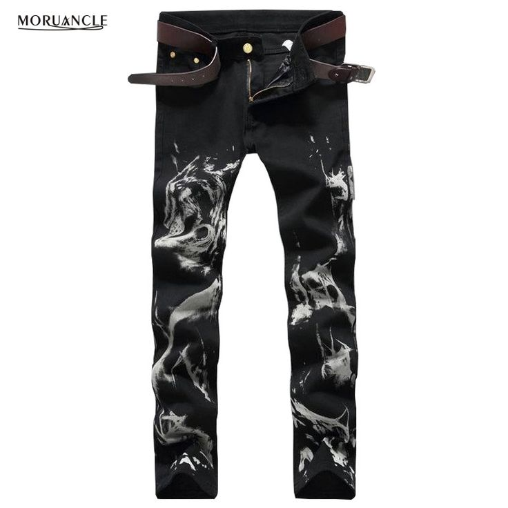 Fashion Club Wear Mens Black Denim Joggers Wolf Printed Slim Fit Jeans Pants Man Strentch Painted Jean Trousers Brand Designer #Affiliate
