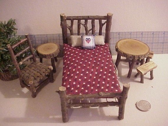 Rustic Miniature Dollhouse Furniture Set Log Cabin 1 inch Scale  Bed Tables Chair stars RWB
