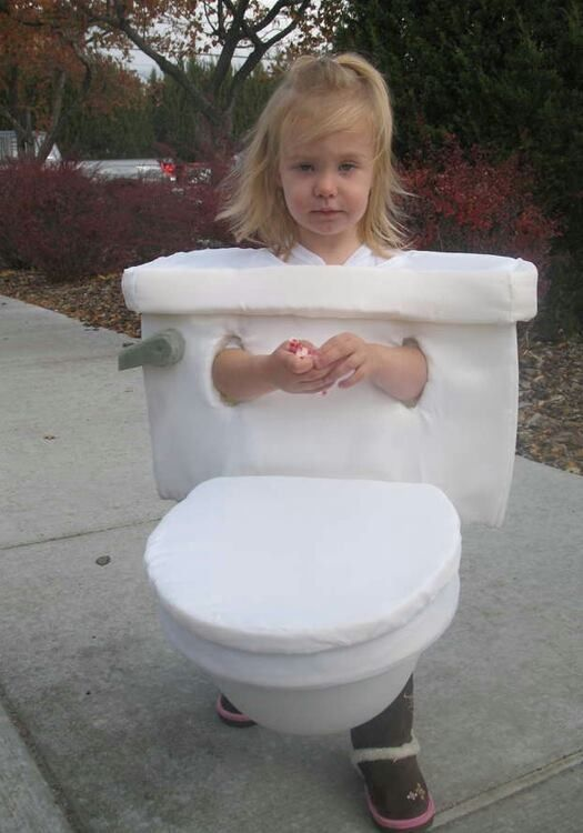 girl dressed as toilet worst halloween costume bad halloween costumes for kids for adults inappropriate wtf worst tattoos bad tattoos awkward family photos - Childrens Funny Halloween Costumes