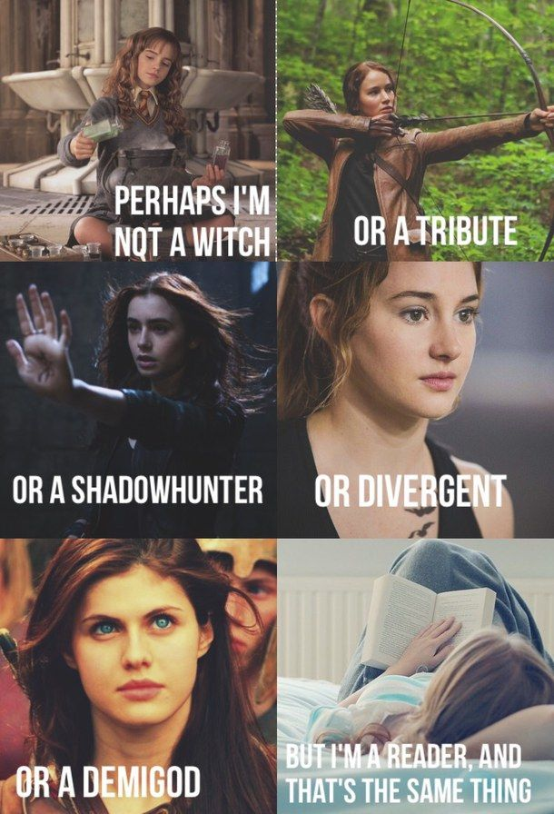 annabeth chase, books, divergent, fandom, harry potter, hermione granger, hunger games, katniss everdeen, multi, percy jackson, readers, the mortal instruments, tris, shadow hunters (Geek Stuff Harry Potter)