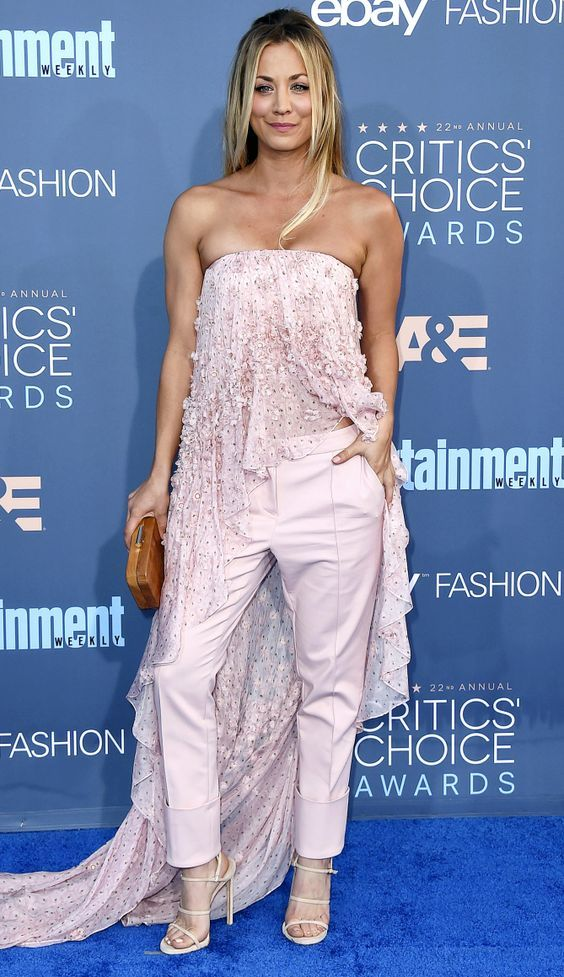 Critics Choice Awards 2016 Best Dressed Stars - Kaley Cuoco in a Noon by Noor top and pants