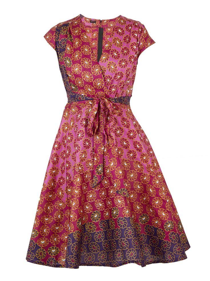 Wrap-Over Dress Dark Pink