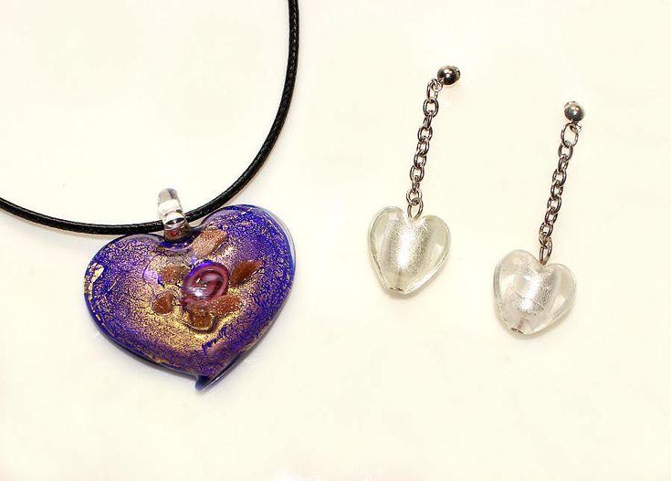 Halsband und Ohrringe lila Glas Rosen Herz Anhänger Wax Cord Halskette Choker Schmuck Set Geschenk Valentinstag Geburtstag für Sie Frauen von CreativeWithHeart auf Etsy