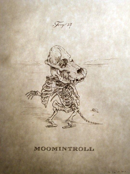 Moomintroll skeleton print. $18