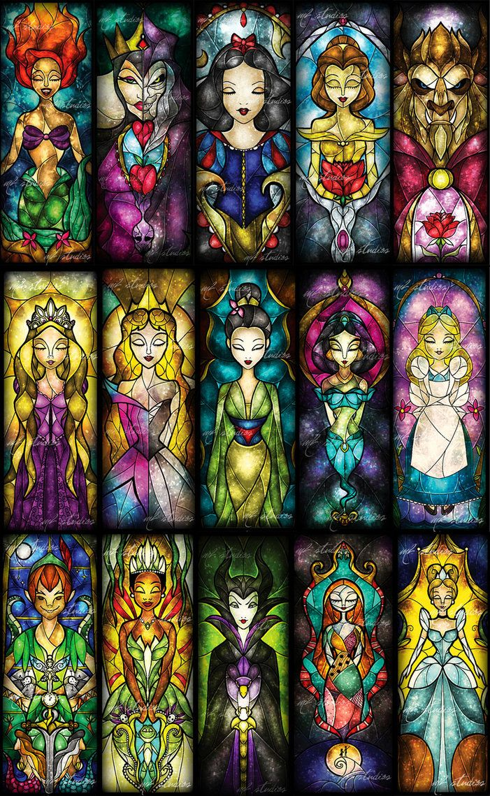 Disney in stained glass. Gorgeous. First Row- Ariel, Evil Queen, Snowwhite, Belle, Beast Second Row- Rapunzel, Aurora, Mulan, Jasmine, Alice Third Row- Peter Pan, Tiana, Maleficent, Sally, Cinderella Would be pretty as an arm tattoo