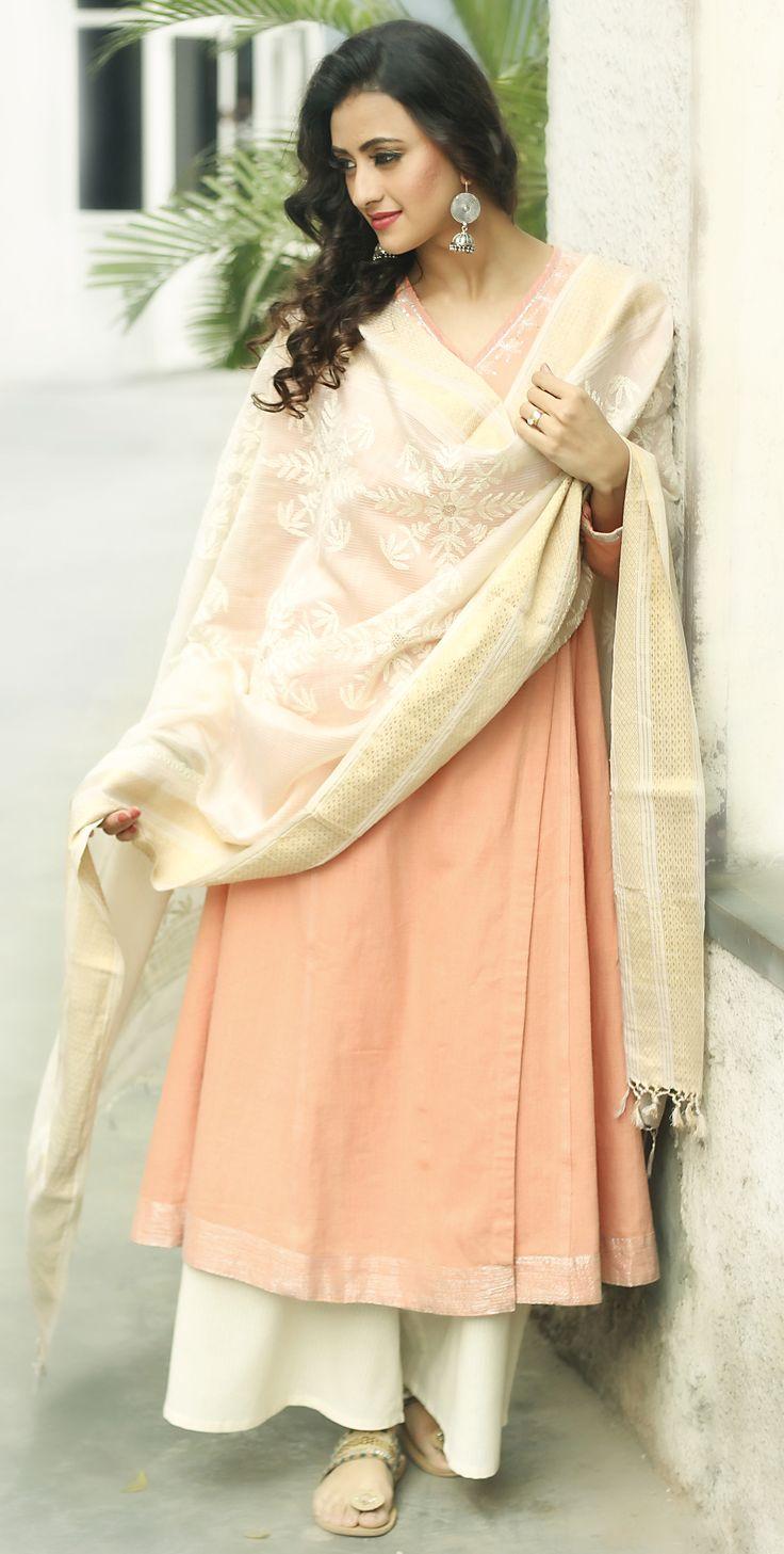 #chikankari #SummerLights #dupatta #peach #kurta #wrap-around #womenswear #women #fashion #palazzo #summer #dressy #sterling #silver #earrings #Fabindia