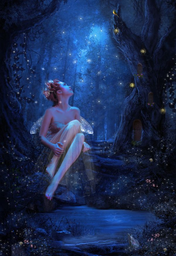At twilight she always heard the tinkling of delicate music, and one day when she dipped her toe into the pool she found herself instantly transported to the other side--only now she had wings...