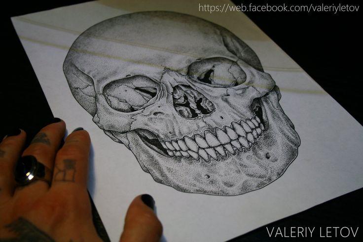 skull tattoo sketch dotwork by ValeriyLetov