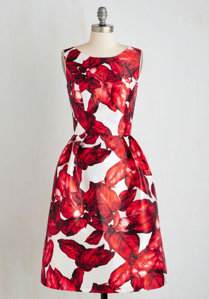 All is Palm Dress in Ruby. Though this radiant dress by Chi Chi London is unmistakably eye-catching, your night is nothing but serene. #red #prom #modcloth