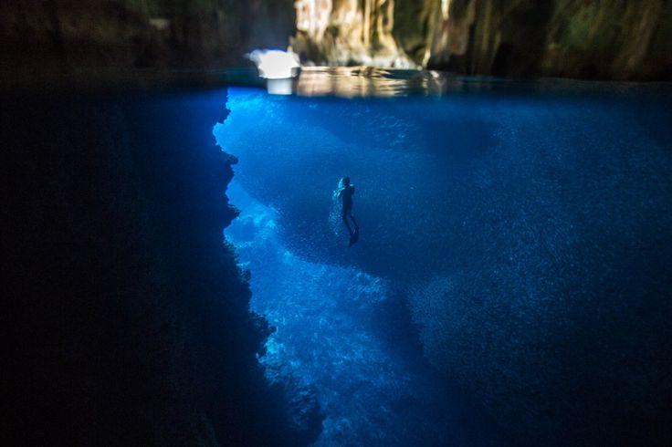 Mergulho entre milhares de peixes dentro da Swallow Cave, uma das cavernas do conjunto de ilhas de Vava'u