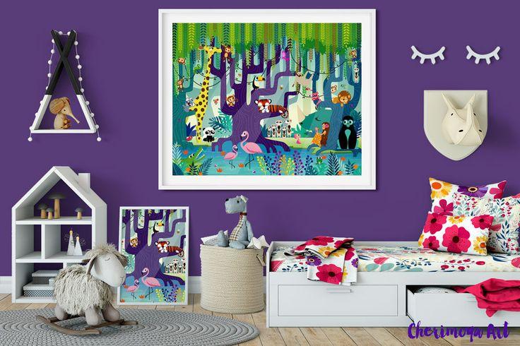 Safari Nursery Decor Jungle Print Safari Nursery Wall Art