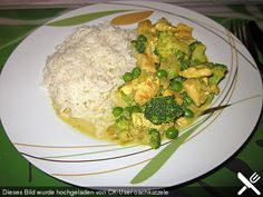 Hähnchengeschnetzeltes mit Brokkoli und Erbsen