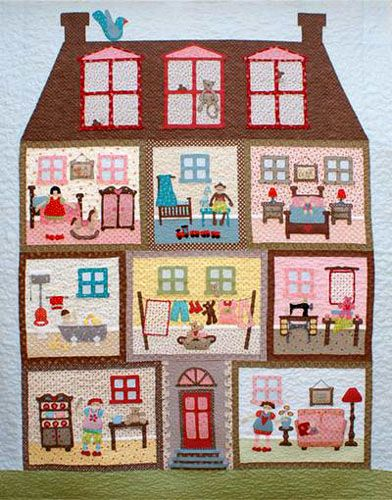 Dollhouse quilt....hmmm...wonder if I could make this on a smaller scale and make felt dolls and clothes to go with it as a playmat for Sophie...sew it so it will fold and tie into a nice portable package, with a pocket for all the accessories...