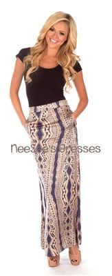 Navy Aztec Satin Maxi Skirt with front pockets. So gorgeous