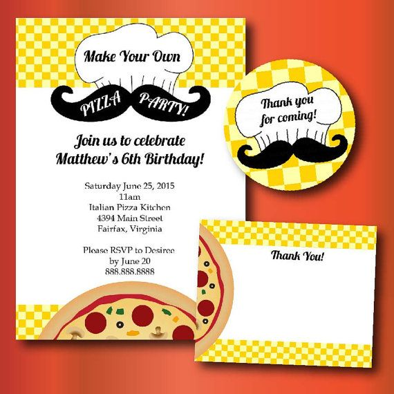 Make Your Own Pizza Birthday Party Printable Invitations Thank You And Favor Stickers Perfect