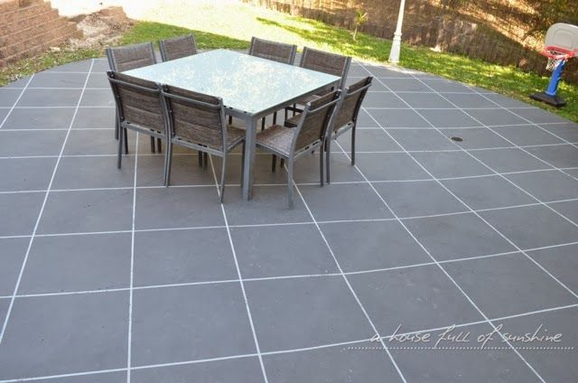 Backyard Makeover How To Paint Concrete To Look Like Oversize Pavers Stenc