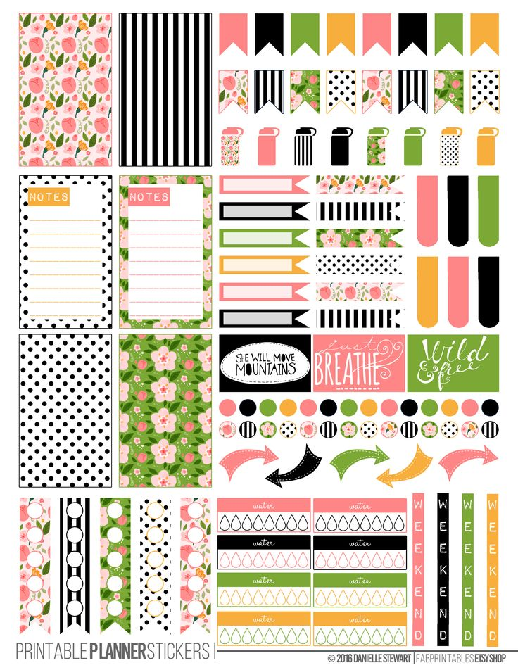 Spring Floral Printable Planner Stickers made to fit the Happy Planner.