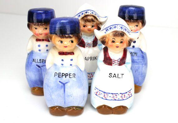 MINT Vintage Dutch Children Spice Set, Arnart Dutch Children Spice Shakers, Danish, Holland, Wooden Shoes, Blue and White Kitchen, Epsteam