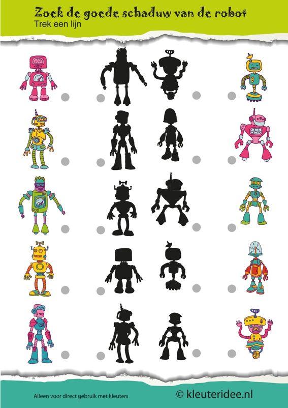 Zoek de goede schaduw van de robot met kleuters, kleuteridee.nl, free printable.