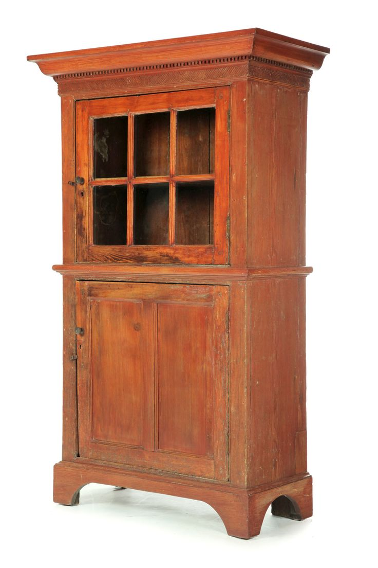 Pennsylvania or Virginia, late 18th century, pine, retaining an old reddish-orange wash