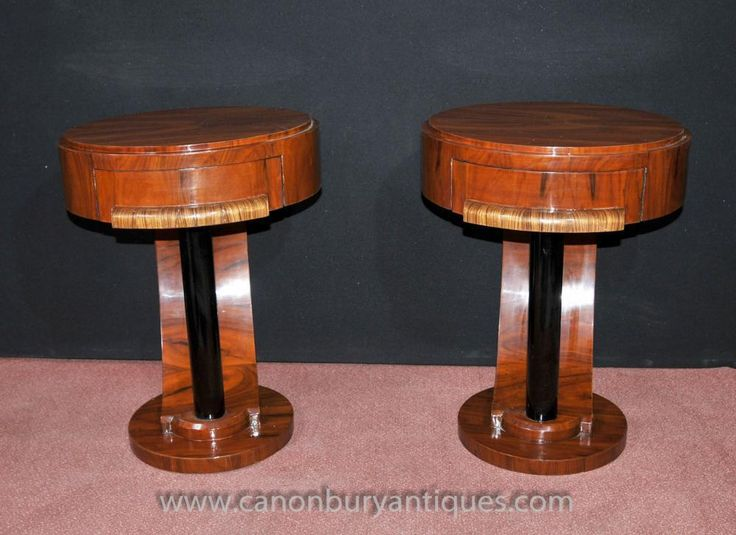 Pair Art Deco Bedside Side Tables Nightstands Chests