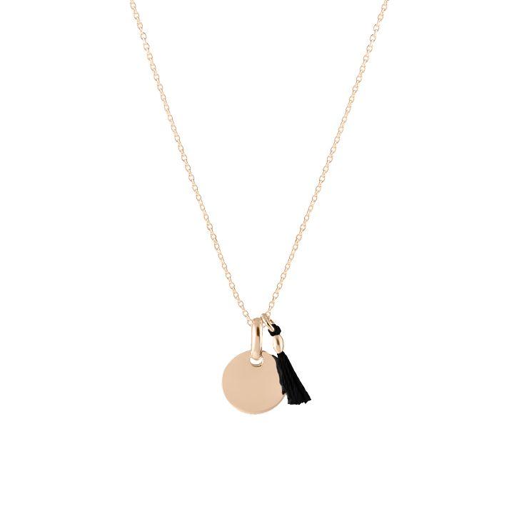 Collier chaîne mini médaille et pompon en vente sur L'Atelier d'Amaya