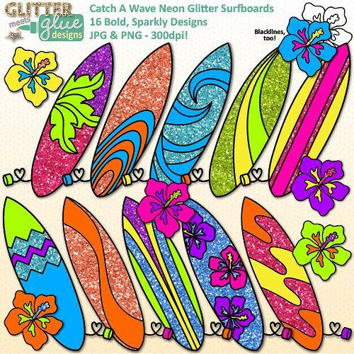 Catch A Wave Neon Glitter Surfboards Clipart - Summer ...
