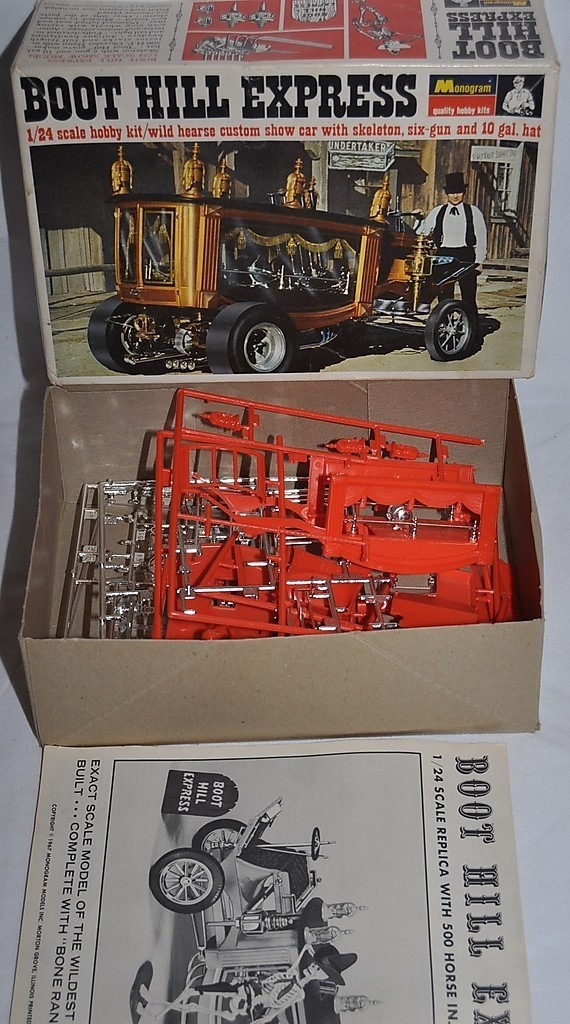 """Monogram model, Boot Hill Express hot rod hearse """"with skeleton, six-gun, and 10 gal. hat"""""""