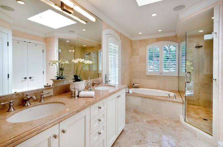 Traditional Full Bathroom with Custom Mirrors, Emperador Light Marble Countertop, Arizona, Graber Blinds, Custom Shutters.