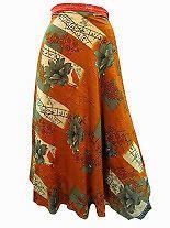 Easy Breezy Silk Sari Wrap Skirt Orange | eBay