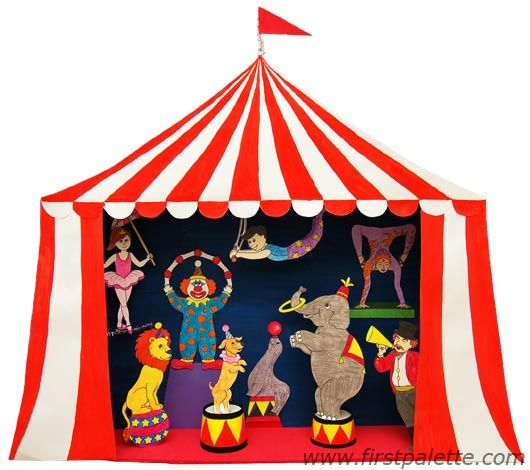 Circus Diorama and Circus Puppet Theater Craft | Kids' Crafts | FirstPalette.com