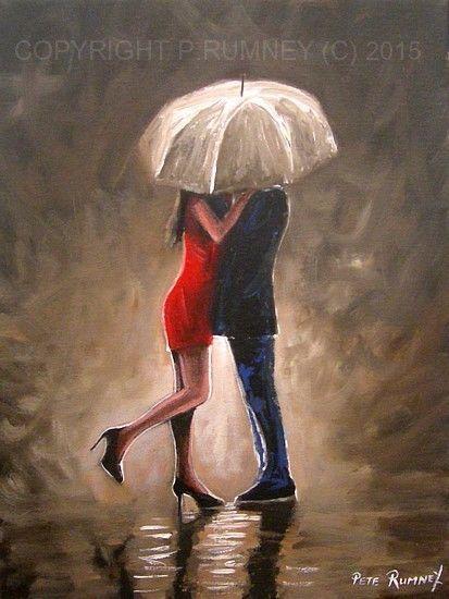 PETE RUMNEY FINE ART MODERN ACRYLIC OIL ORIGINAL PAINTING KISS GOODBYE SIGNED NR in Art, Artists (Self-Representing), Paintings | eBay
