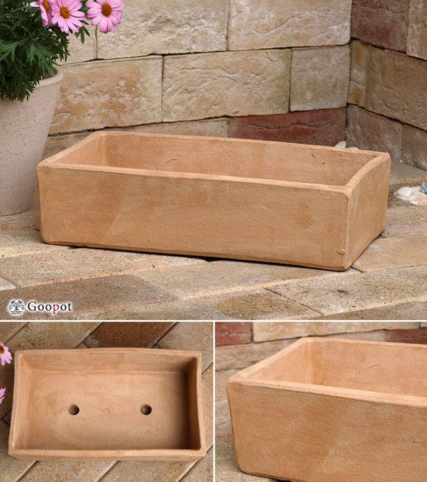 【おしゃれな植木鉢】長角プランター浅型素焼き鉢35cm