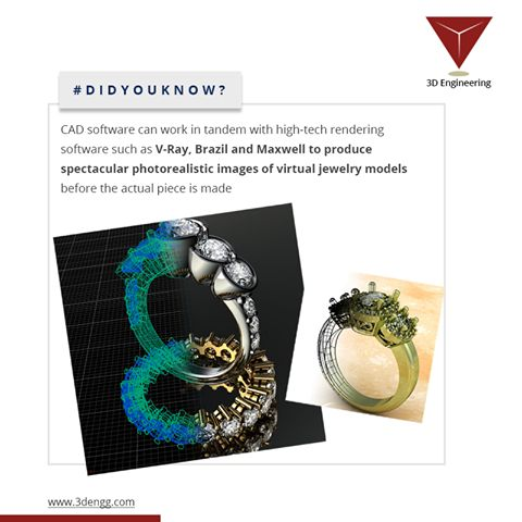 #DidYouKnow?  CAD software can work in tandem with high-tech rendering software such as V-Ray, Brazil and Maxwell to produce spectacular photo realistic images of virtual jewelry models before the actual piece is made Siemens Siemens PLM #CADSoftware #CADTraining